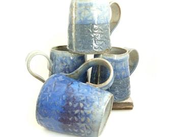 Set of 4 Handbuilt Ceramic Mugs, Blue and Purple Mugs, Slab Built, OOAK Mug, Gift Set, Free shipping, Stoneware Ceramics, Handled Cup