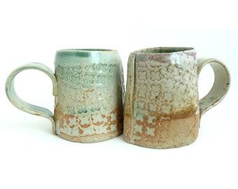 Set of 2 Handbuilt Ceramic Mugs, Coffee, Tea, Slab Built, Textural Mugs, Gift Set, Earthy Colors, Stoneware Ceramics, Handled Cup