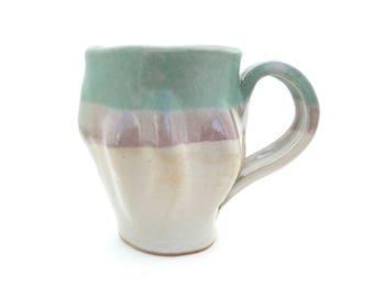 Handbuilt Ceramic Mug, Coffee, Tea, Slab Built, Textural Mugs, Gift Set, Earthy Color, Stoneware Ceramics, Handled Cup, Green, Purple, White