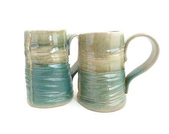 Set of 2 Handbuilt Ceramic Mugs, Coffee, Tea, Slab Built, Textural Mugs, Gift Set, Earthy Colors, Stoneware Ceramics, Handled Cup, Turquoise