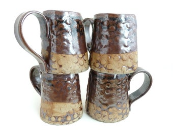 Set of 4 Handbuilt Ceramic Mugs, Drinkware, Dot Design, Slab Built, OOAK Mug, Gift Set, Earthy Colors, Stoneware Ceramics, Handled Cups