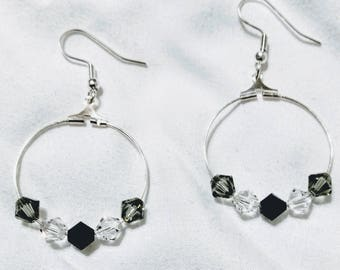 Black and Gray Crystal Hoops