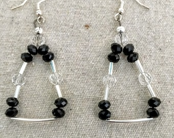 Black, Silver and Crystal Triangle Hanging Earrings