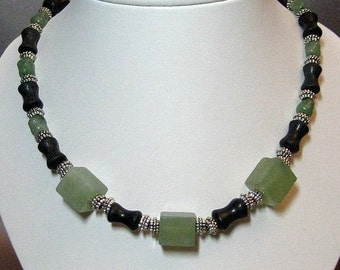 Handmade Green Jade, Blackstone and Silver Necklace
