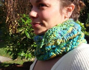 SALE tropical fish handknit glimmering cowl