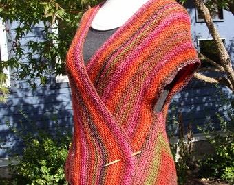 handknit rose garden wrap vest