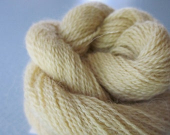 Buttery Yellow Colo Alpaca Organic Custom Dyed Yarn  100 yds 91.4 meters