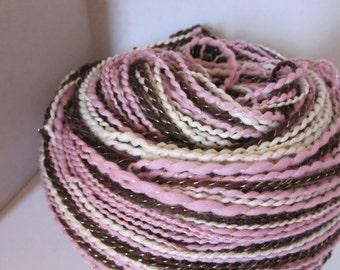 Handspun Alpaca Merino Silk Yarn  (Spamoni Icecream) 210 yds 192 meters