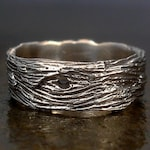 Driftwood Woodgrain Unisex Mens Ring - Sterling Silver Wide Band - Sizes 7, 7.5, 8, 8.5, 9, 9.5, 10, 10.5, 12, 12.5, 13, 13.5, 14