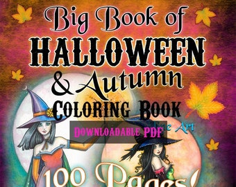 Big Book of Halloween and Autumn in Line Art - 100 Pages - Instant Download - Witches, Vampires, Autumn Fairies, Ghosts by Molly Harrison