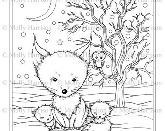 Children With Snowman And Owls Coloring Page Printable Etsy
