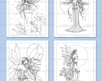 PRINTABLE Flower Fairies Coloring Pages set 2 4 Flower Fairy | Etsy