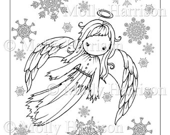 angel coloring page cute angel in snowflakes printable instant download adult coloring page christmas angel fairy angels