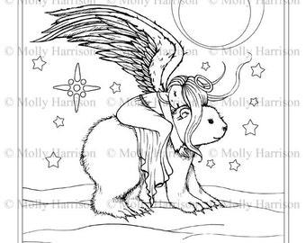 Polar Bear Coloring Page Fantasy Art Printable Instant Etsy