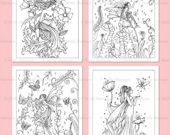 PRINTABLE Fairies Coloring Pages Set 6 4 Fairy