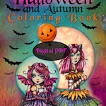 NEW 2019 - Halloween and Autumn Coloring Book by Molly Harrison - Printable PDF Digital Coloring Book - Instant Download