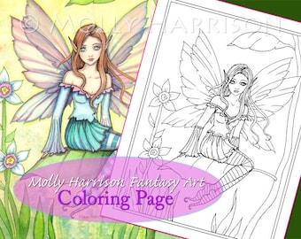 Bella - Digital Stamp - Printable - Flower Fairy Art - Molly Harrison Fantasy Art - Digistamp Coloring Page - Digi Stamp