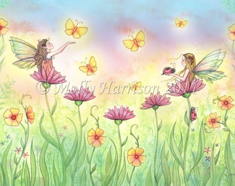 Sisters - Cute Fairy Fantasy Art Watercolor Giclee Print by Molly Harrison 8 x 10