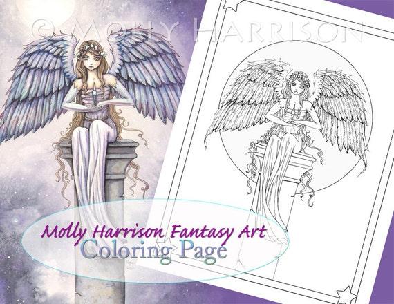 Ángeles de página para colorear fantasía arte ilustración | Etsy