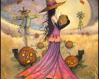 October Fields Fantasy Art Original Witch Cat Halloween Archival Giclee Print 5 x 7