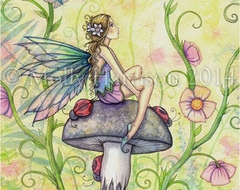 "Fairy Fine Art Fantasy Watercolor Print by Molly Harrison 5 x 7 ""A Happy Place"""