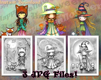 Printable- Set of 3 Halloween Themed GRAYSCALE Coloring Pages - Whimsical - JPG Format - Digistamps - Coloring Fun