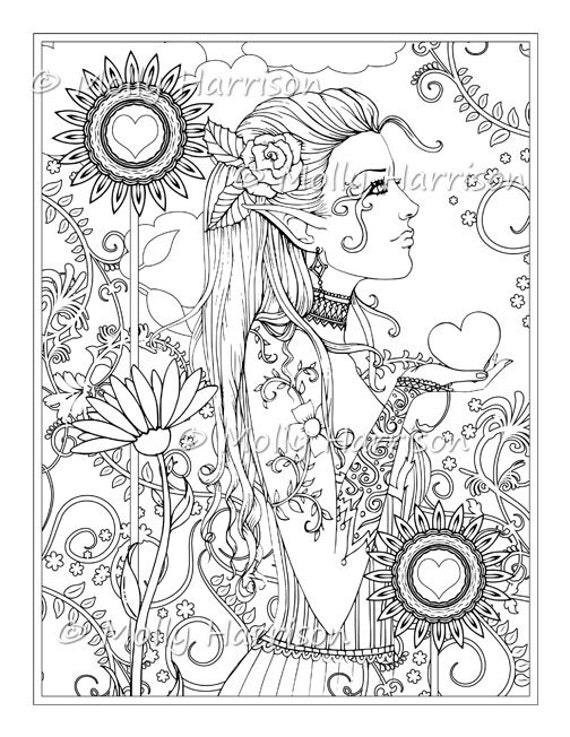 Jardín del corazón sello Digital imprimir Hippie Floral   Etsy