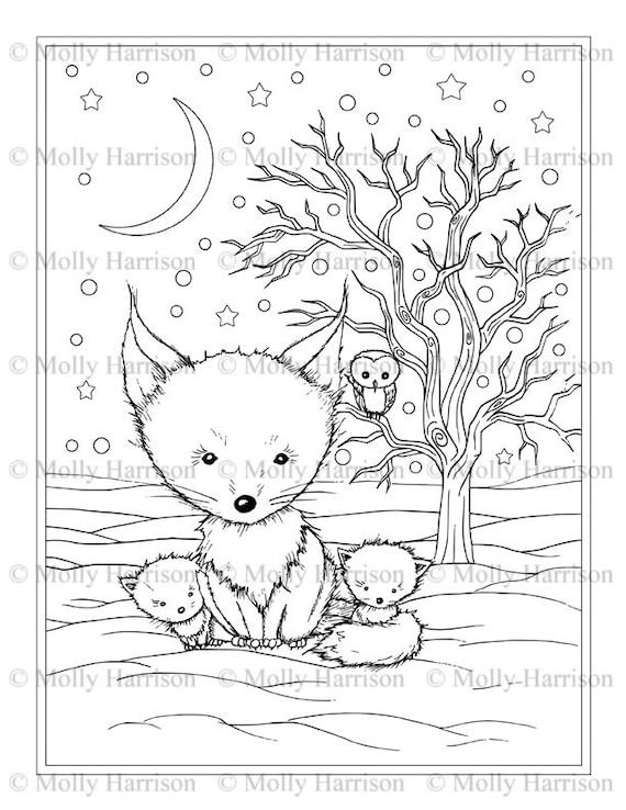 Flauschige Winter Fuchsfamilie Malvorlagen Printable Instant | Etsy