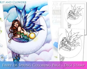 Kit and Clowder RESERVED listing  -  Electra Fae - Digital Stamp - Printable - Fairy on Moon  - Molly Harrison Fantasy Art