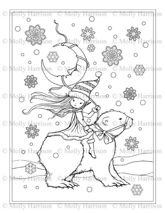 Pequeño duendecillo/Elf caballo Oso Polar para colorear página | Etsy