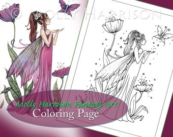 Poppies of Amethyst - Digital Stamp - Printable - Flower Fairy Art - Molly Harrison Fantasy Art - Digistamp Coloring Page - Digi Stamp
