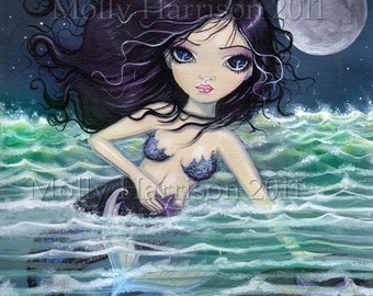 Amid the Soft Sea Mermaid Giclee Print 12 x 12 Fine Art Print