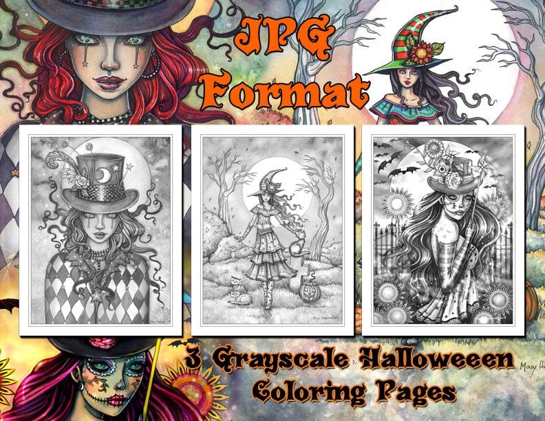 Thema Kleurplaten Halloween.Afdrukbare Set Van 3 Halloween Thema Grijswaarden Coloring Etsy