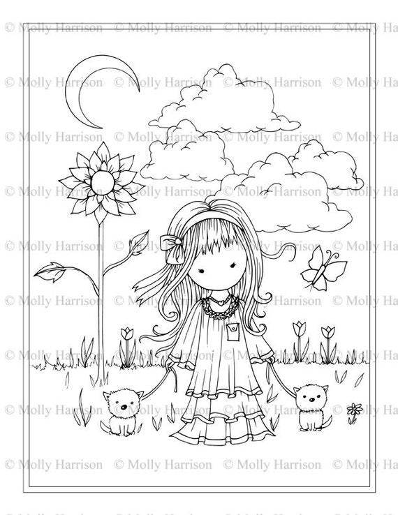 Chica Con Perros Pequeños Imprimibles Para Colorear Página Whimsical Floral Lindo Cachorros Arte De La Fantasía De Molly Harrison Descarga