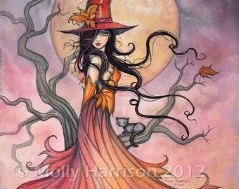 Autumn Magic Original Witch Cat Halloween Archival Giclee Print 8 x 10