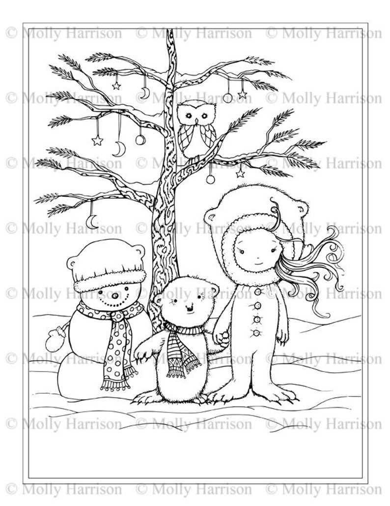 Little Winter Bear Snowman Girl Owl In Tree Coloring Etsy