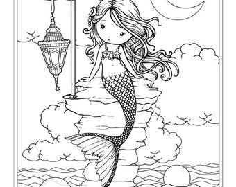 Cute Mermaid with Lantern  - Coloring Page - Line Art - Whimsical World by Molly Harrison Fantasy Art