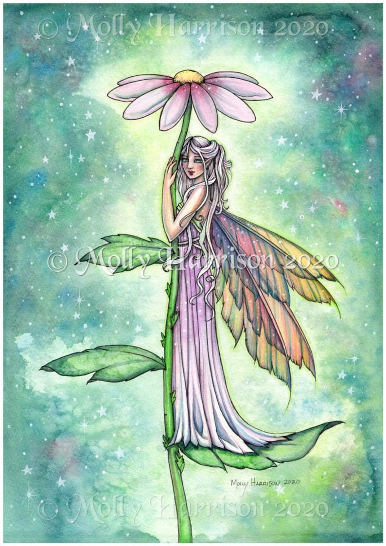 Original Fairy Watercolor Painting Starry Garden image 0