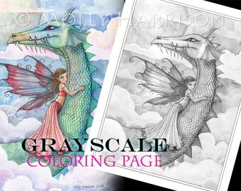 Cloudbusting - Instant Download Printable Fairy and Dragon GRAYSCALE coloring page by Molly Harrison - Full size 8.5 x 11 JPG file