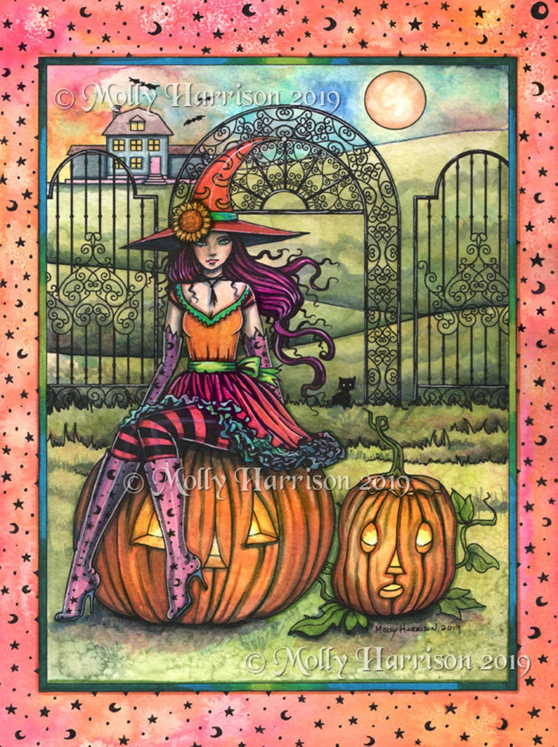 Original Halloween Witch Painting  Watercolor  A image 0