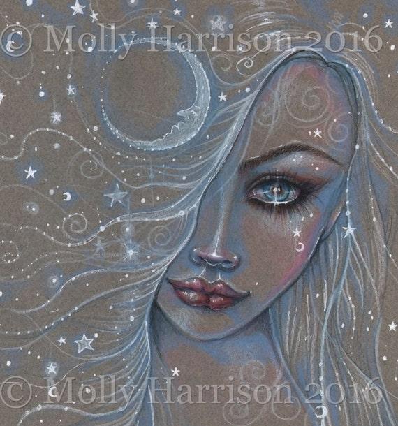 Cosmic Girl Matita Disegno Fantasy Art Print Di Molly Harrison Etsy