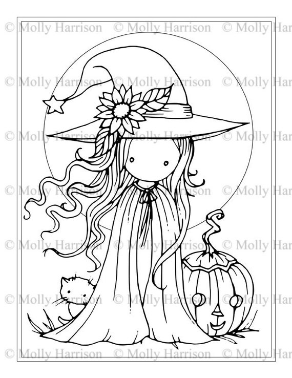 Tiny Witch and Cat Coloring Page