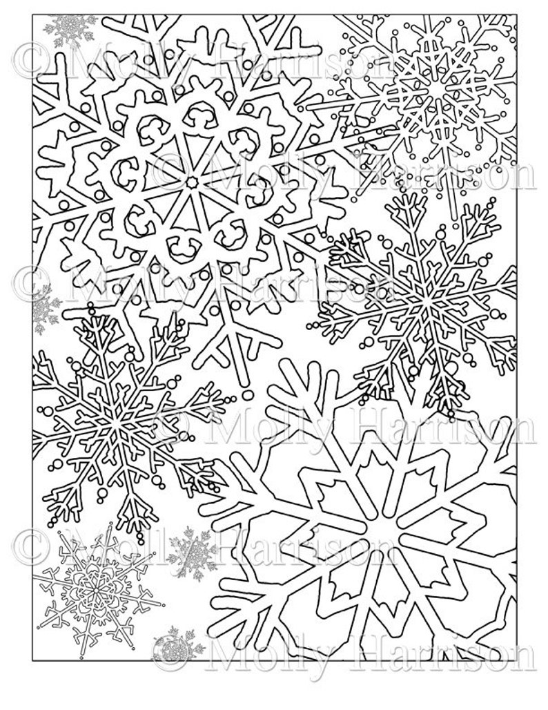 photo relating to Snowflakes Printable titled Snowflake Coloring Webpage - Distinctive Snowflakes - Printable Immediate Down load - Grownup Coloring Site - Xmas, wintertime, snow, family vacation