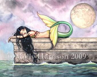 Pier of Dreams Mermaid Fine Art Print by Molly Harrison 5 x 7