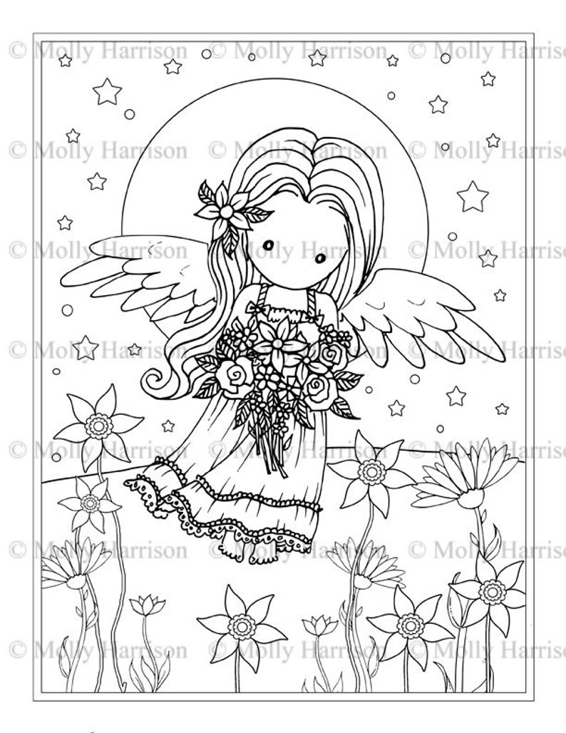 graphic regarding Printable Angels called Small Flower Angel - Electronic Stamp - Printable - Angels - Molly Harrison Myth Artwork - Digi Stamp Coloring Site - Immediate Obtain