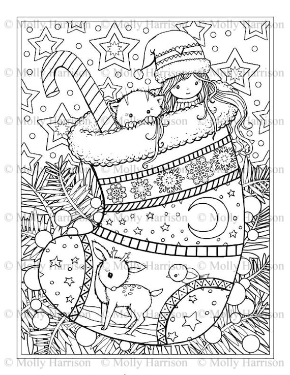 Christmas Stocking Coloring Page Cat Deer Cute Little Etsy