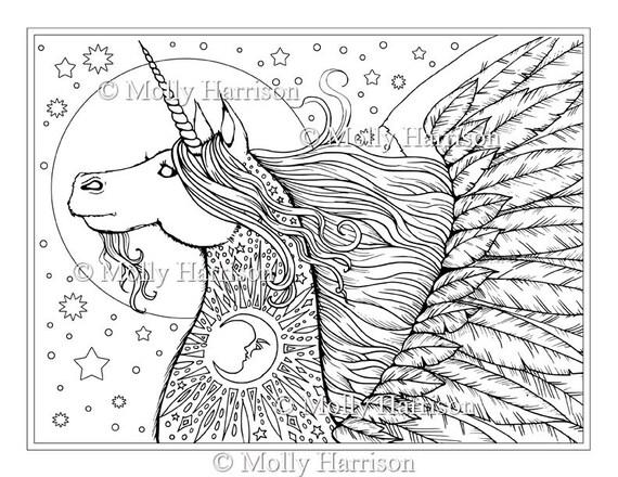 Unicornio Pegaso sello Digital imprimir lunas estrellas | Etsy