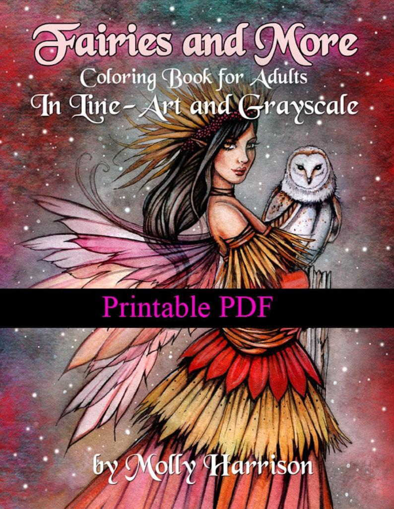 Printable Digital Download  Fairies and More  Both Line-Art image 0
