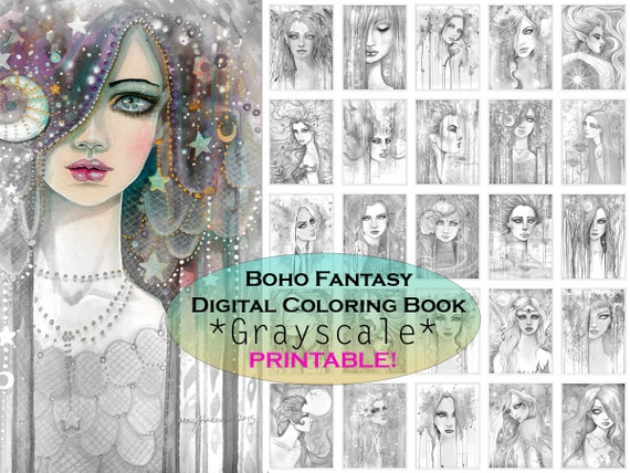 Bohemian Fantasy Grayscale Coloring Book Printable Instant Download Gypsy Grayscale Coloring Molly Harrison Fantasy Art