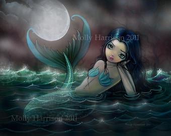Moonlit River Mermaid Giclee Print 12 x 16 Fine Art Prints